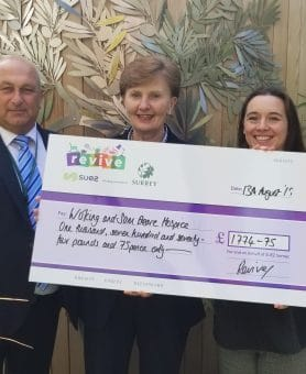 Woking & Sam Beare Hospices nominated for Woking Revive Charity Scheme donation