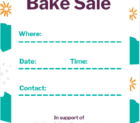 Bake sale poster with border